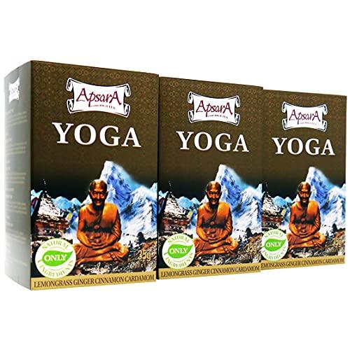 Té Apsara Yoga, juego de 3 (60 bolsitas de té), té de hierbas ayurvédico con jengibre, hierba de limón y manzanas secas