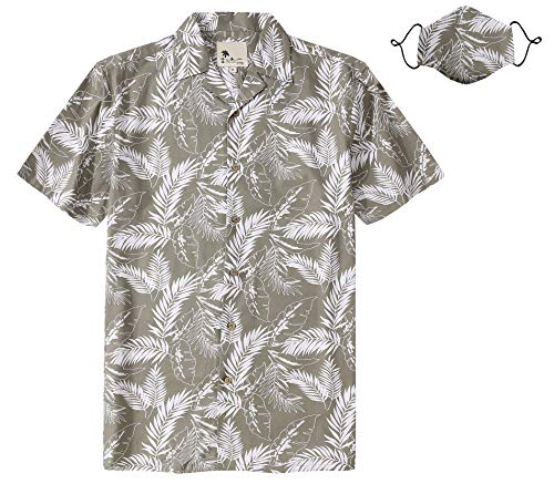 Men's Hawaiian Shirt with Mask Flower Aloha Tropical Cotton Short Sleeve Casual Button Down Shirts Grey M