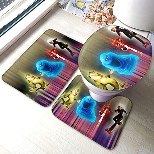 Monsters Vs Aliens - Alfombrilla antideslizante para baño (3 juegos), suave, absorbente, gruesa, cómoda, de microfibra y cubierta de inodoro en forma de U