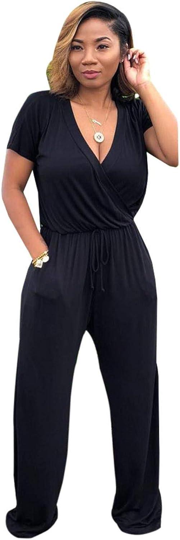 Summer Short Sleeve V Neck Pockets Elastic Jumpsuit
