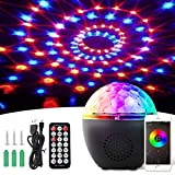 BACKTURE LED Discokugel,Bluetooth Musikspieler Magic Discokugel 16 Farbe Modi mit Fernbedienung + USB Kabel + 8 Stufen Lichtmodus LED Bühnenbeleuchtung Party Lichter Projektor Discolampe Lichteffekte
