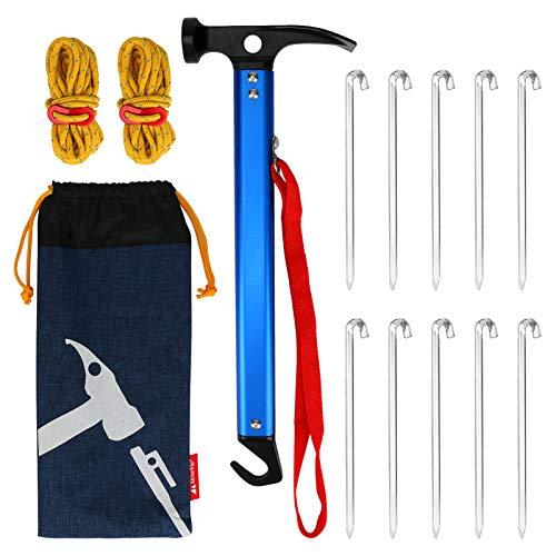 BestFire 10 piezas clavijas para tienda de campaña de 7 pulgadas martillo para tienda de campaña martillo para tienda de campaña 2 cuerdas para tienda de campaña con bolsa de almacenamiento