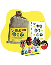 Toiing Rock Art Kit | Creative Reusable Painting DIY Kit | Indoor Art & Craft Kit with Paints & Paintbrush | Birthday Gift for Kids Age 4 Years & Above