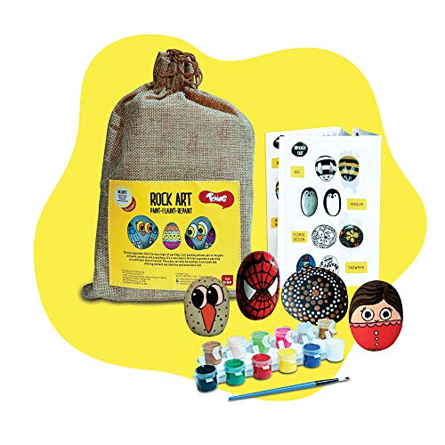 Toiing Rock Art Kit   Creative Reusable Painting DIY Kit   Indoor Art & Craft Kit with Paints & Paintbrush   Birthday Gift for Kids Age 4 Years & Above