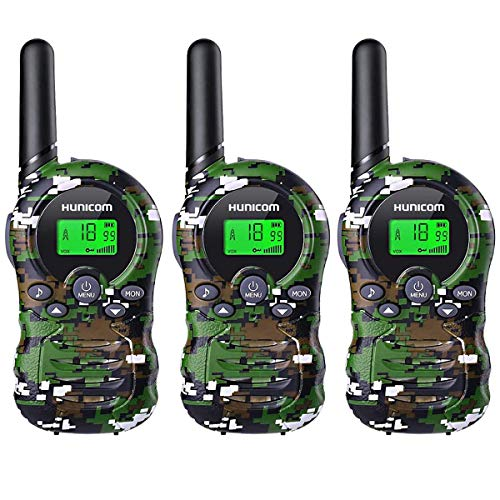 Kids Walkie Talkies 3 Pack, Clear Sound Children Walki Talki Anti-Slip Sides, Best Gift Toys Walky Talky with LCD Display for Girls Boys 4-12 Years Old Indoor Outdoor Activities
