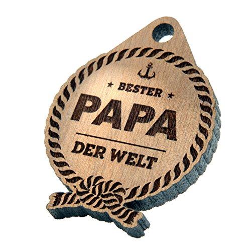 Geschenkfreude Regalo para el Día del Padre, de madera, llavero con el mejor papá del mundo, regalo para el Día del Padre, regalos únicos para papá, regalo para padre o hija