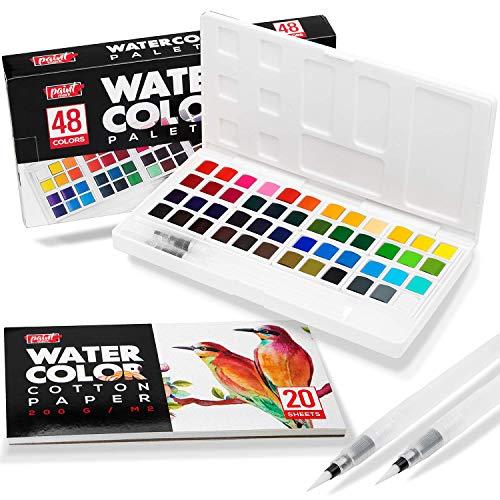 Paint Mark 48 Watercolor Paint Set With 2 Blending Brush Pens, Watercolor Paint Palette Includes 20 Sheets Water Color Paper & Storage Case.