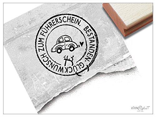 Stempel - Textstempel Poststempel rund mit AUTO - Glückwunsch zum Führerschein - bestanden - für Gutscheine Scrapbook Artjournal Grußkarten - von zAcheR-fineT