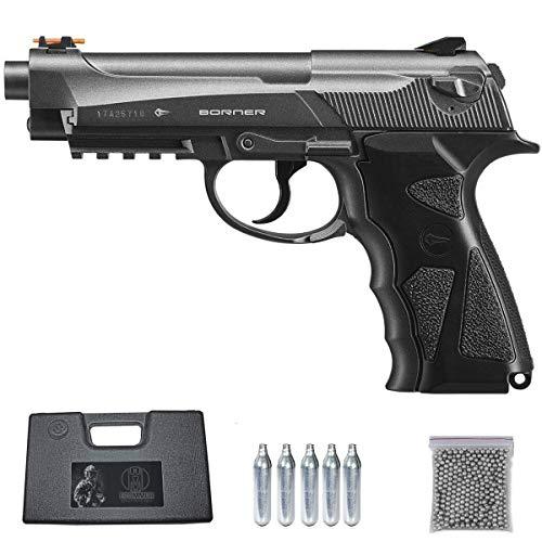 Borner Sport 306 | Pack Pistola de balines (perdigones Bolas de Acero BB s). Arma de Aire comprimido CO2 Tipo Beretta 92 Calibre 4,5mm (2.52 Julios)
