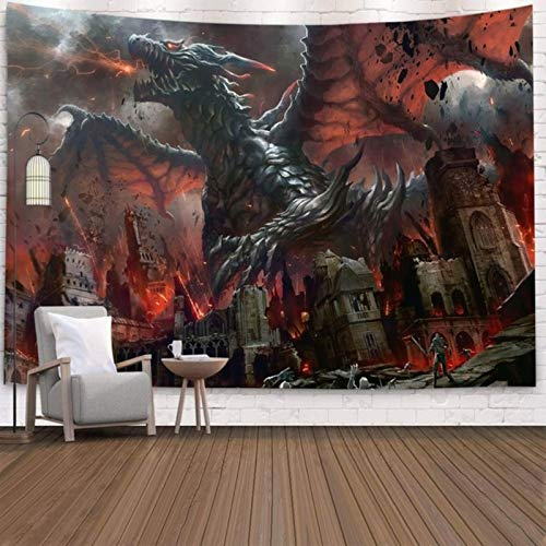 Purple Dragon Tapestry Wall Hanging Fantasy Theme Wall Artist Home Decoration Background Wall Cloth-2000x1500 MM,L-10