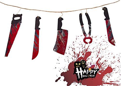 TK Gruppe Timo Klingler Guirnalda de banderines de 115 cm con hacha sangrienta y cuchillo como decoración para Halloween