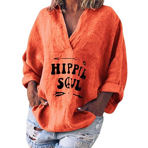 Auifor dames lange mouwen katoen linnen Kaftan dames Baggy blouse T-shirt Tops S-5XL