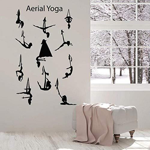 Aerial Yoga Center Balance Pose Girls Mooie romp voor ramen van vinyl voor binnenmuren afneembaar 42 x 67 cm