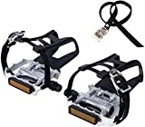 NEWSTY Bike Pedals with Clips and Straps for Outdoor Cycling and Indoor Stationary Bike 9/16-Inch Spindle Resin/Alloy Bicycle Pedals Silver