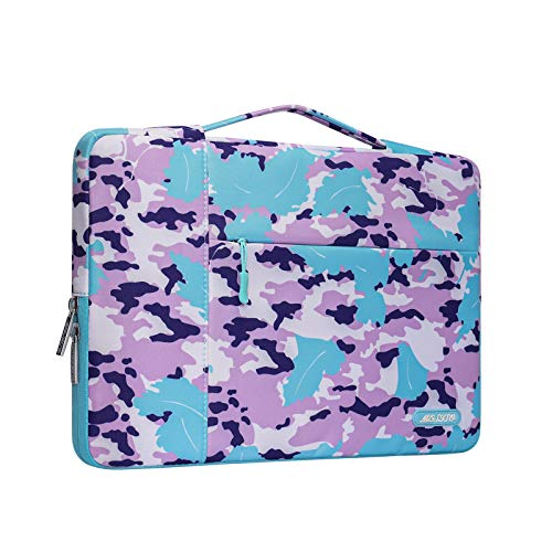 MOSISO Laptop Briefcase Compatible with 13-13.3 Inch Laptop, Notebook, MacBook Air/Pro, Polyester Multifunctional Sleeve Handbag Carrying Case Bag, Blue & Purple Scrawl