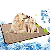 Pet Cooling Mat for Dog Puppy Cat Washable Cooling Pad, Reusable Ice Silk Dog Self Cooling Mat, Pet Sleeping Pad Blanket for Pet Beds Kennels Couches Sofa Floors Car Seats (XL: 40×28in, Coffee-2021)