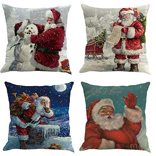 Riou Kissenbezuge Weihnachten Kissenhülle Dekokissen Throw Pillow Covers Für Autos Sofakissen 4 er Set Weihnachten Baumwolle Leinen Home Taillen Kissenbezug Dekokissen Fall