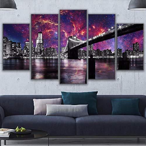 asfdgkwejd5 Kunstwandbilder 100x55CMSchöner Sternenhimmel der Stadtbrücke Druck Art Wallpaper Home Decoration Board Wandbild montiert Kunst Ölgemälde Foto
