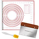 "SiliQueen Silicone Pastry Baking Mat with Measurements Extra a Brush and a Dough Scraper- 27.5"" x 20"" Heat Resistant, BPA Free, Non-Stick Non-Slip Pastry Mat for Rolling Dough, Easy to Clean, Red"