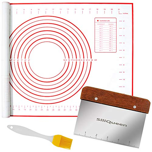 """SiliQueen Silicone Pastry Baking Mat with Measurements Extra a Brush and a Dough Scraper- 27.5"""" x 20"""" Heat Resistant, BPA Free, Non-Stick Non-Slip Pastry Mat for Rolling Dough, Easy to Clean, Red"""