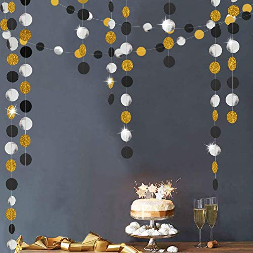 Gold Black Silver Circle Dots Garlands Kit for Party Decorations Summer Mermaid/Under The Sea/Beach/Pool Side Hanging Bubble Streamer Backdrop Bunting Banner for Wedding/Baby Shower/Birthday