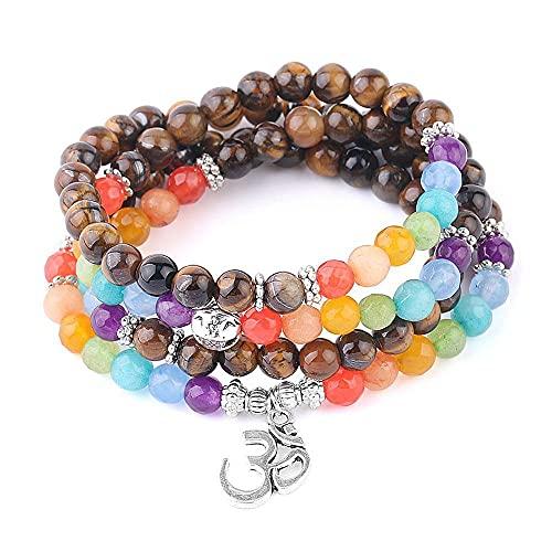 Pulsera De Cuentas 108 Mala Beads Pulsera Piedras Naturales Pulseras De Ojo De Tigre Yoga 7 Chakra Faceted Bead 6Mm 8Mm Brazaletes para Mujeres Hombres A