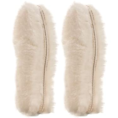 [2 Pair]Real Pure Sheepskin Luxury Insoles Sheepskin Lambswool Blended Shoe Insoles   Durable & Fluffy Perfect for Flat, Beige, [2-Pairs]Women US 6
