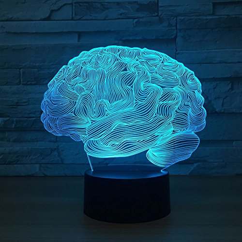 Resumen Cerebro Acrílico Novedad 3D LED Luz de noche Lámpara de mesa Mesita de noche Decoración Regalo de niños