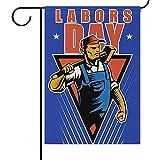 fingww Blumen Flagge Ative Happy Labors Day Flagge Arbeiter Fahnen Willkommen Doppelseite Garten Flagge Banner Holiday Decoratio Außen Außendruck 32X48Cm