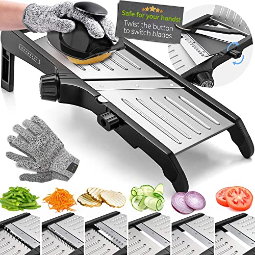 Mandoline Food Slicer, Adjustable Stainless Steel with Waffle Fry Cutter Crinkle Cut Potato Chip Vegetable Onion