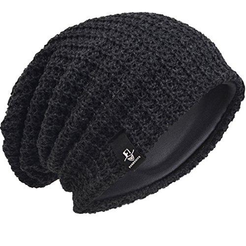 Hombre Gorro de Punto Slouch Beanie Knit Invierno Verano Hat (Gris Oscuro)
