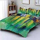 Conjunto de funda nórdica, imagen de pintura abstracta de estilo floral de acuarela de primavera Naturaleza arte decorativo Conjunto de ropa de cama de 3 piezas con 2 fundas de almohada, verde amarill