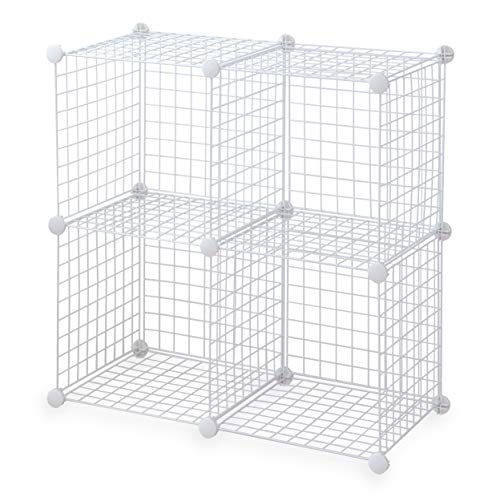 Topline 4-Cube Modular Wire Storage Cubbies - White, No-Tool Assembly