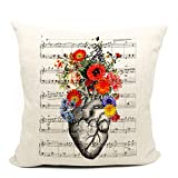 Heart Flower Anatomy Throw Pillow Case,Cardiologist Gift Idea, Medical Decor, Gift Health Coach, Cardiac Nurses, Cardiologist, Medicine School Decor, 18 x 18 Inch Cushion Cover for Sofa Couch Bed