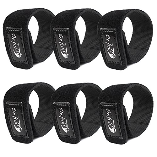 Dr.Fish Fishing Rod Belts Cable 12in×1.5in Tie Strechy Strap Holders Black Ropes for bundle organize case packed 3 Pairs