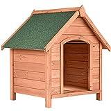 TecTake 403229 Caseta de Madera Maciza para Perro, Casa para Mascotas Animales, Construcción Resistente, Techo Extraíble, Ideal Exterior...