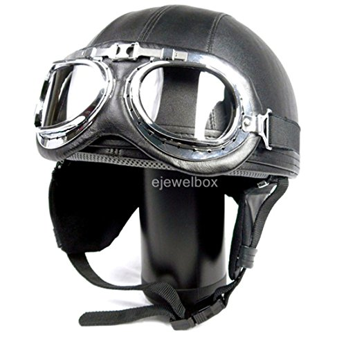 Vintage Motorcycle Motorbike Scooter Half Leather Helmet Black wlth Free Goggles and One Ganda Anti Electromagnetic Radiation Sticker