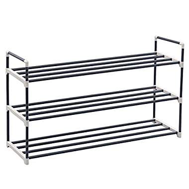 SONGMICS 3-Tier Shoe Rack Shoe Tower Shelf Storage Organizer Cabinet Grey ULSA13G