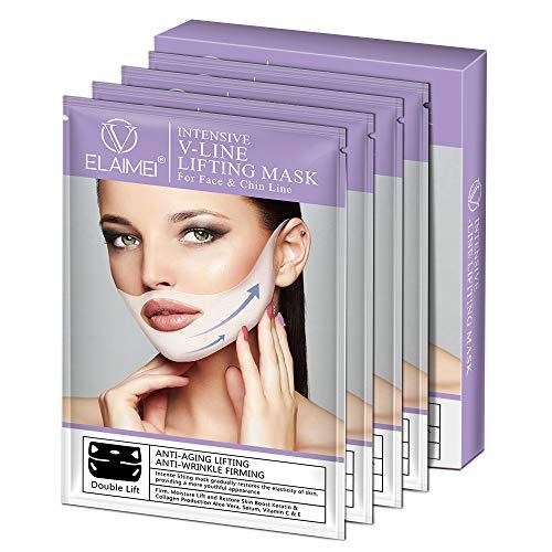 V Gesichtsmasken V Sculpt Maske V Förmige Slimming Maske Reduziert Doppelkinn Natürliches Facelifting gegen Doppelkinn für Antifalten Kinnlifting Gesichtsformung Straffung Feuchtigkeitsspendende(4PCS)