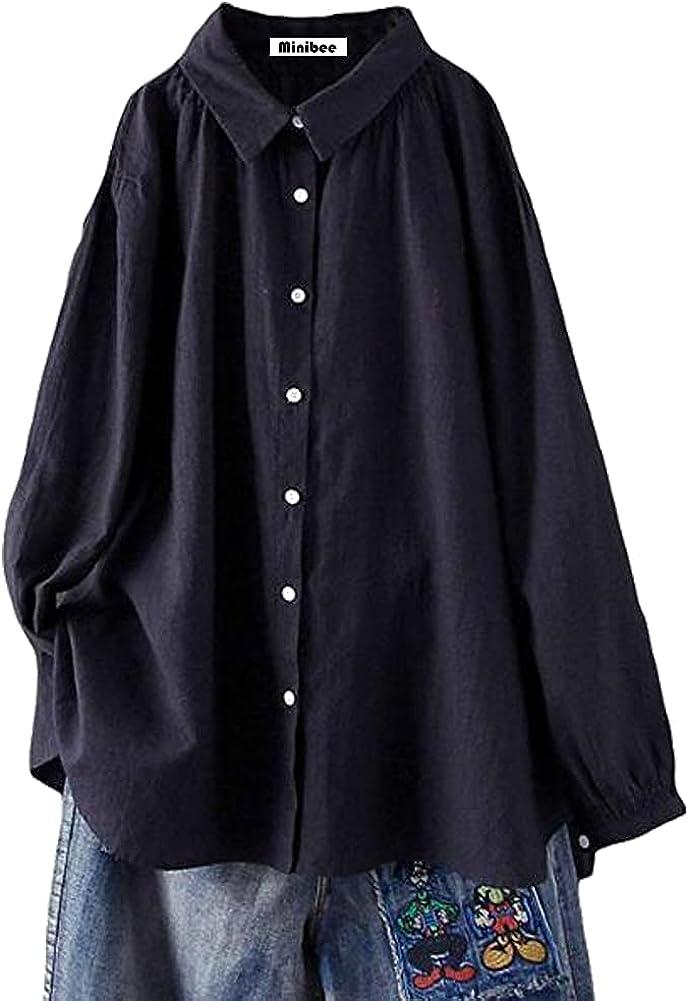 Minibee Women's Cotton Tunic Tops Button Closure Blouse with Hi-Low Hem