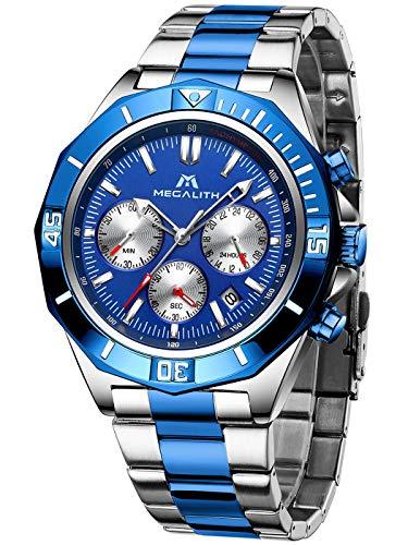 MEGALITH Herren Uhr Männer Chronographen Schwarz Wasserdicht Gold Edelstahl Armbanduhr Militär Mode Business Designer Analog Uhren