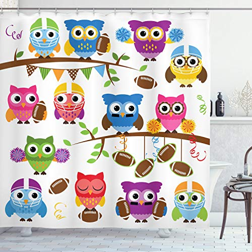 Sporty Owls Stylish Shower Curtain with Multiple Bright Themes