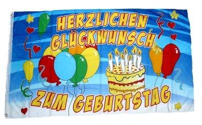 Fahne/Flagge Herzlichen Glückwunsch zum Geburtstag 90 x 150 cm Fahnen Flaggen