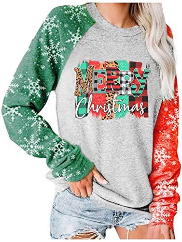 Women Leopard Plaid Shirt Christmas Snowflake Sleeve Sweatshirt Splicing Pullover Raglan Baseball Tee Top Blouse Red Green