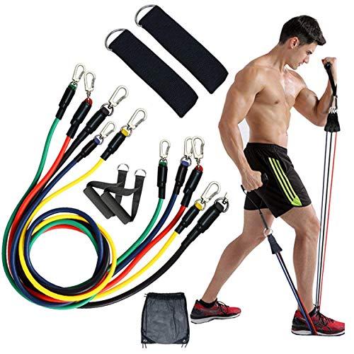 Flinq 11-Teiliges Widerstandsbänder Set   Quality Resistance Bands   Fitnessbänder Set mit 5 Wiederstands Bänder max 45 kg incl. Griffe, Türanker, Fußschlaufen, Tragetasch