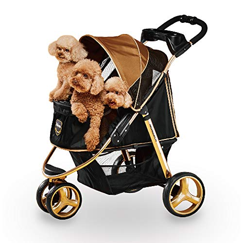 3 Wheel Dog Stroller for Small and Medium Dogs with Cup Holders, Aluminum Frame Holds Pets up to 44 lbs