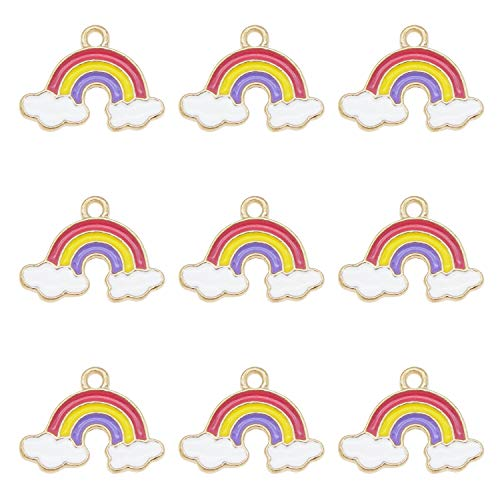 Pack of (x20) Gold Back Multi-Colored Enamel Metal Rainbow Clouds Bracelets Charms Earrings Handmade Necklaces Pendants Drop Dangles DIY Craft Making Jewellery Accessories 19x14mm