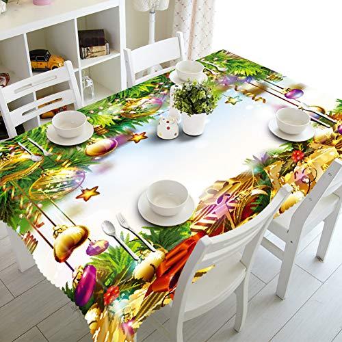 HGKJDL Manteles Mantel de Color Patrón de Tema de Navidad en 3D Espesar Algodón de poliéster Rectangular/Paño de Mesa Redonda para Fiesta en casa