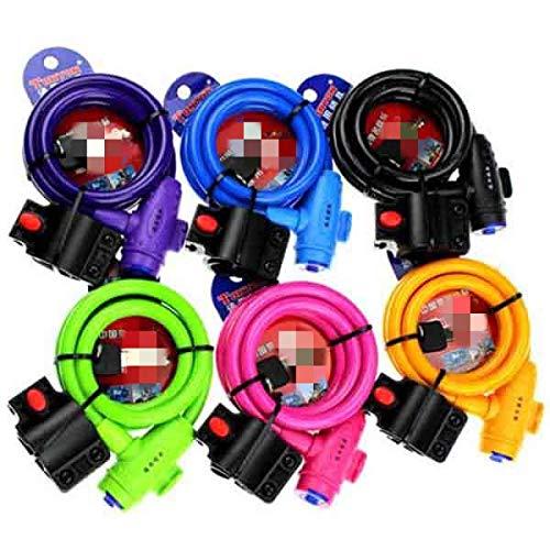 TEET Candado universal para bicicleta con cable de bobina para bicicleta y bicicleta (tamaño: tamaño libre; color: naranja)