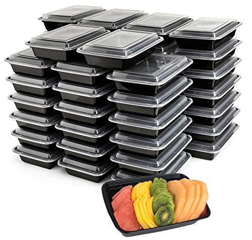 50-Pack Meal Prep Plastic Microwavable Food Containers meal prepping & Lids.'{32 OZ.}' Black Rectangular Reusable Storage Lunch Boxes -BPA-free Food Grade- Freezer Dishwasher Safe -'PREMIUM QUALITY'